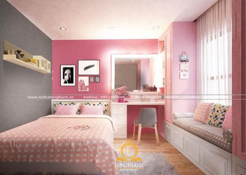 Gam màu hồng cho phòng ngủ hiện đại