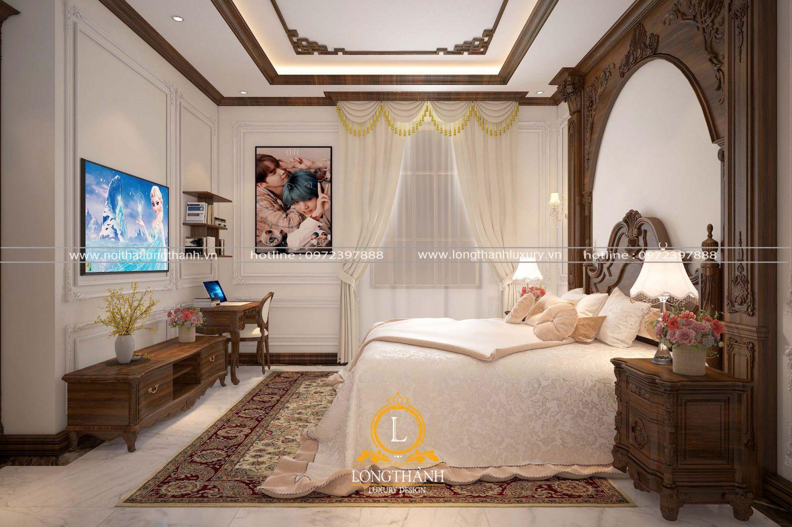 Thiết kế kệ tivi đơn giản cho phòng ngủ nhà phố hẹp