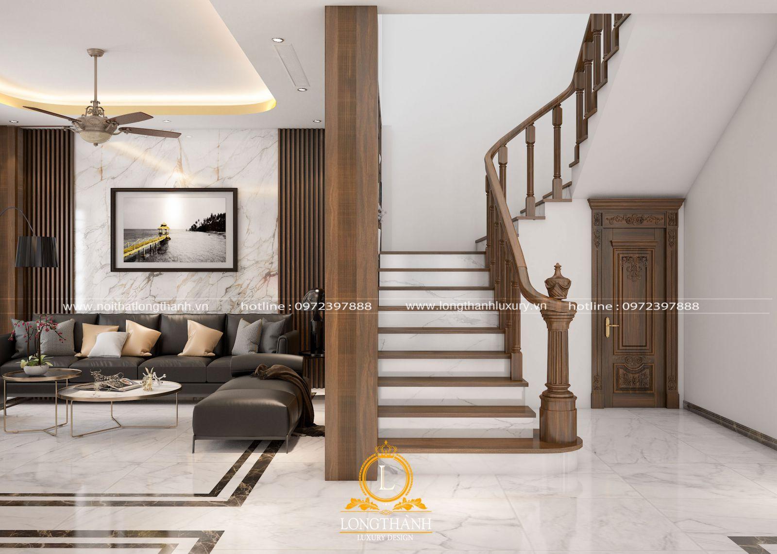 Góc quan sát không gian phòng khách hiện đại và diện cầu thang