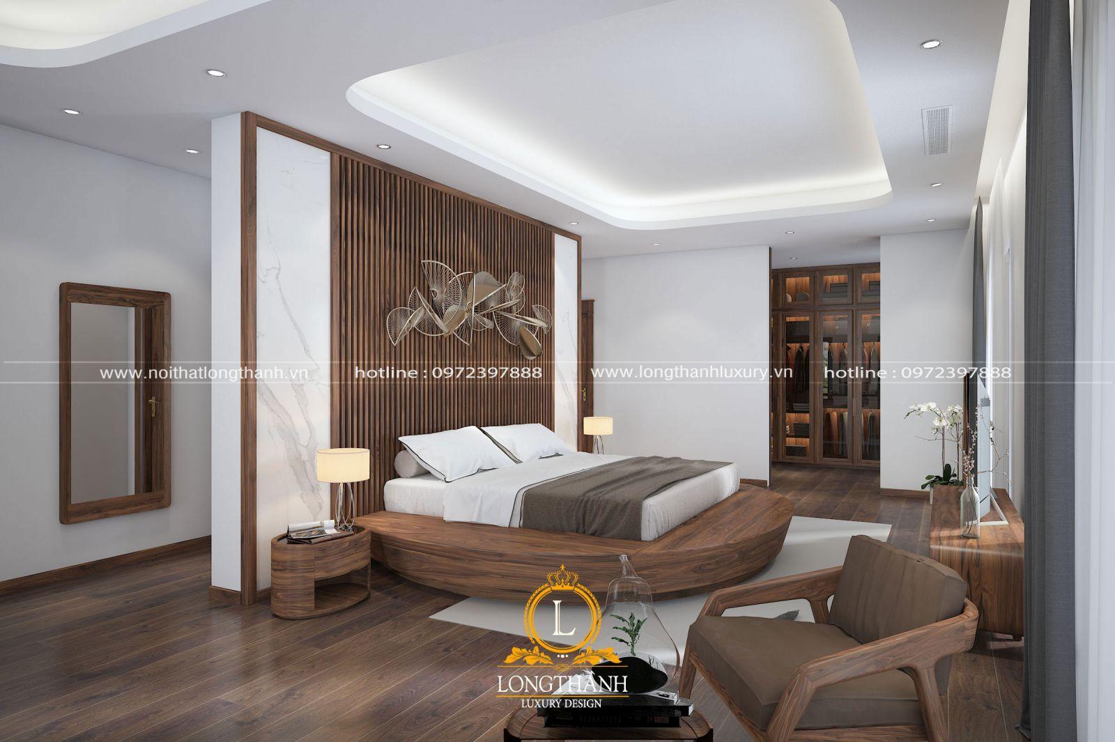 Hệ trần giật cấp được thiết kế giúp căn phòng ngủ như cao hơn