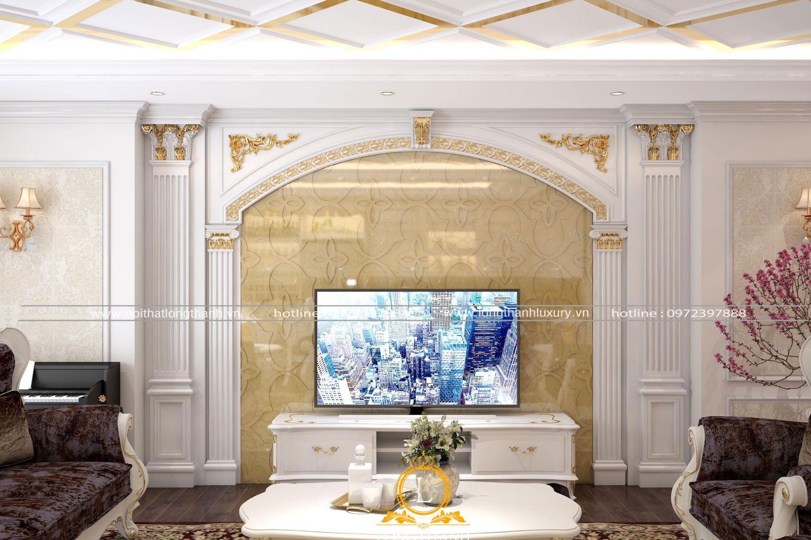 Hệ vách phòng khách đẹp độc đáo