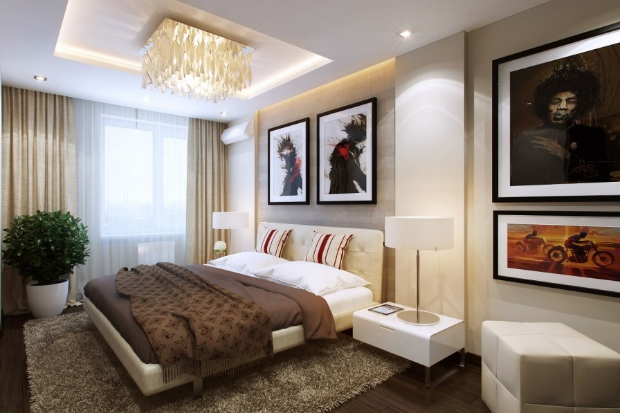 Hiện đại cùng phòng ngủ chung cư cao cấp tông màu trắng nâu