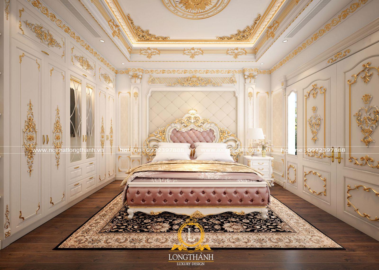 Hoa văn dát vàng cho căn phòng ngủ VIP vô cùng lộng lẫy