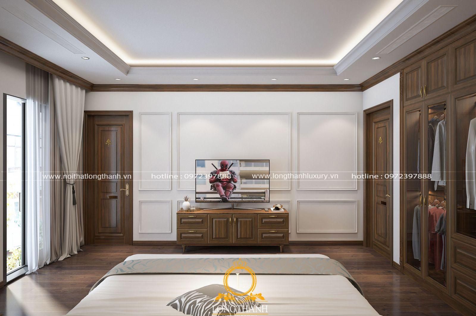 Kệ tivi được bố trí trung tâm căn phòng ngủ