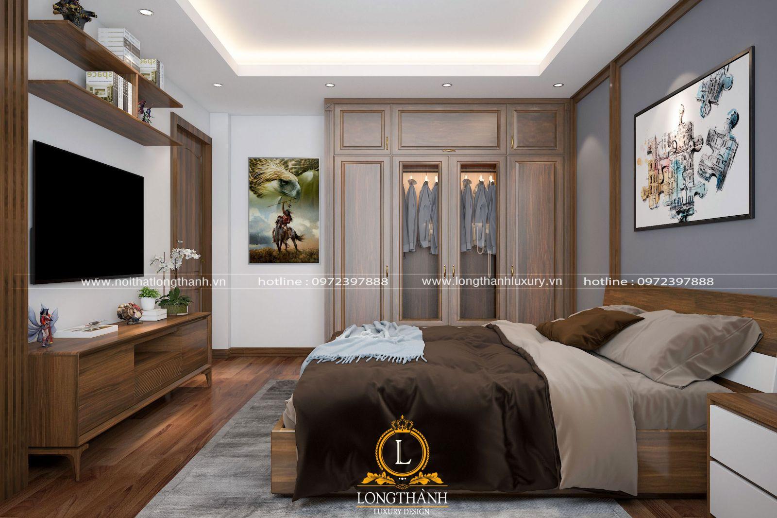Chiếc kệ tivi được bố trí hợp lý trong không gian phòng ngủ hiện đại