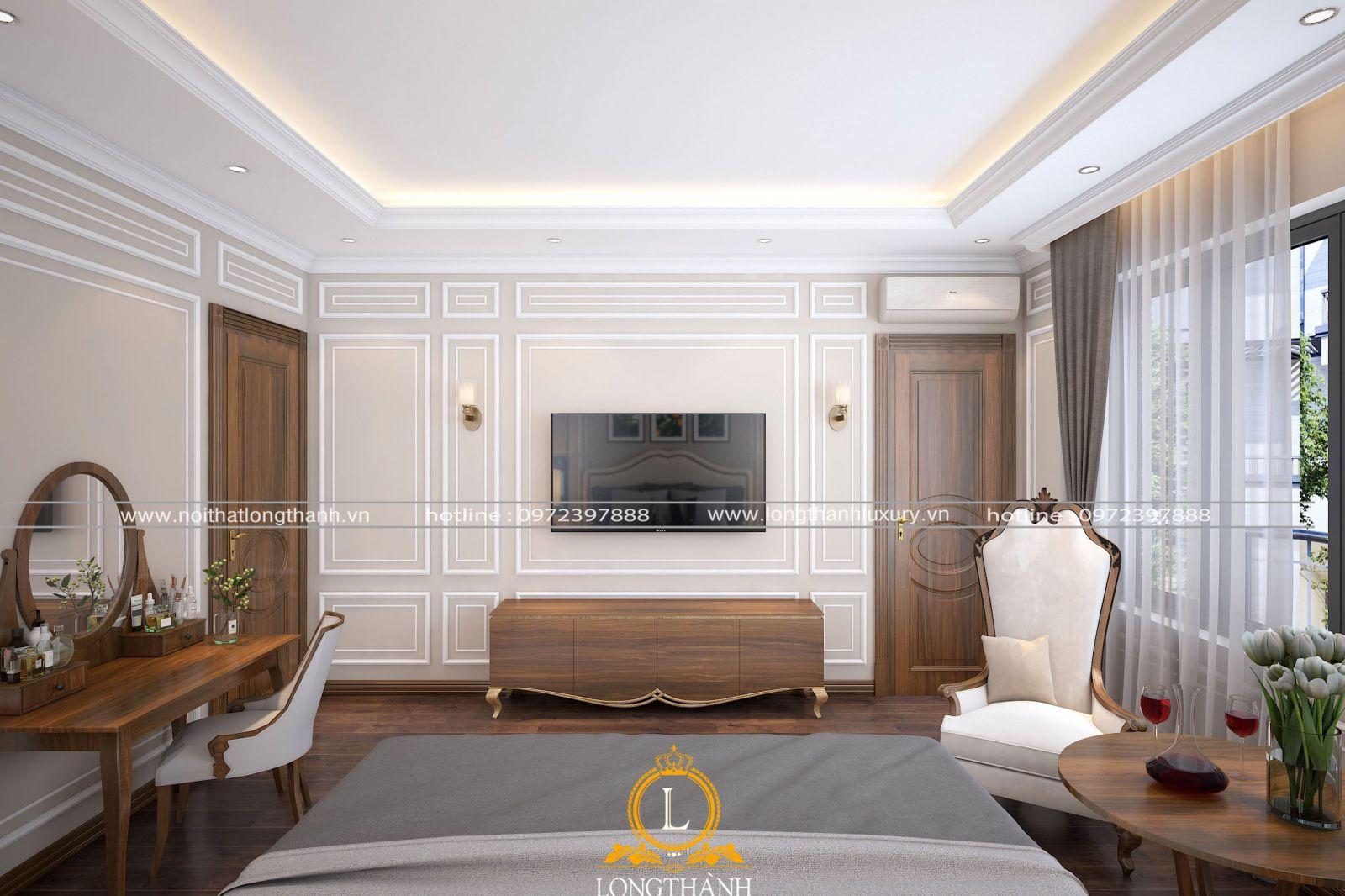 Kệ tivi và bàn trà được tích hợp trong phòng ngủ