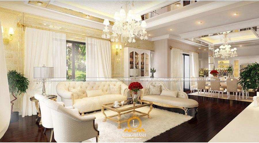 Không gian  phòng khách tân cổ điển sơn trắng lộng lẫy