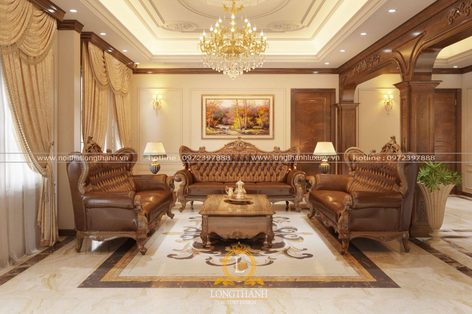 Không gian ấm áp nhưng bề thế với bộ sofa bọc da và bộ rèm cửa phù hợp