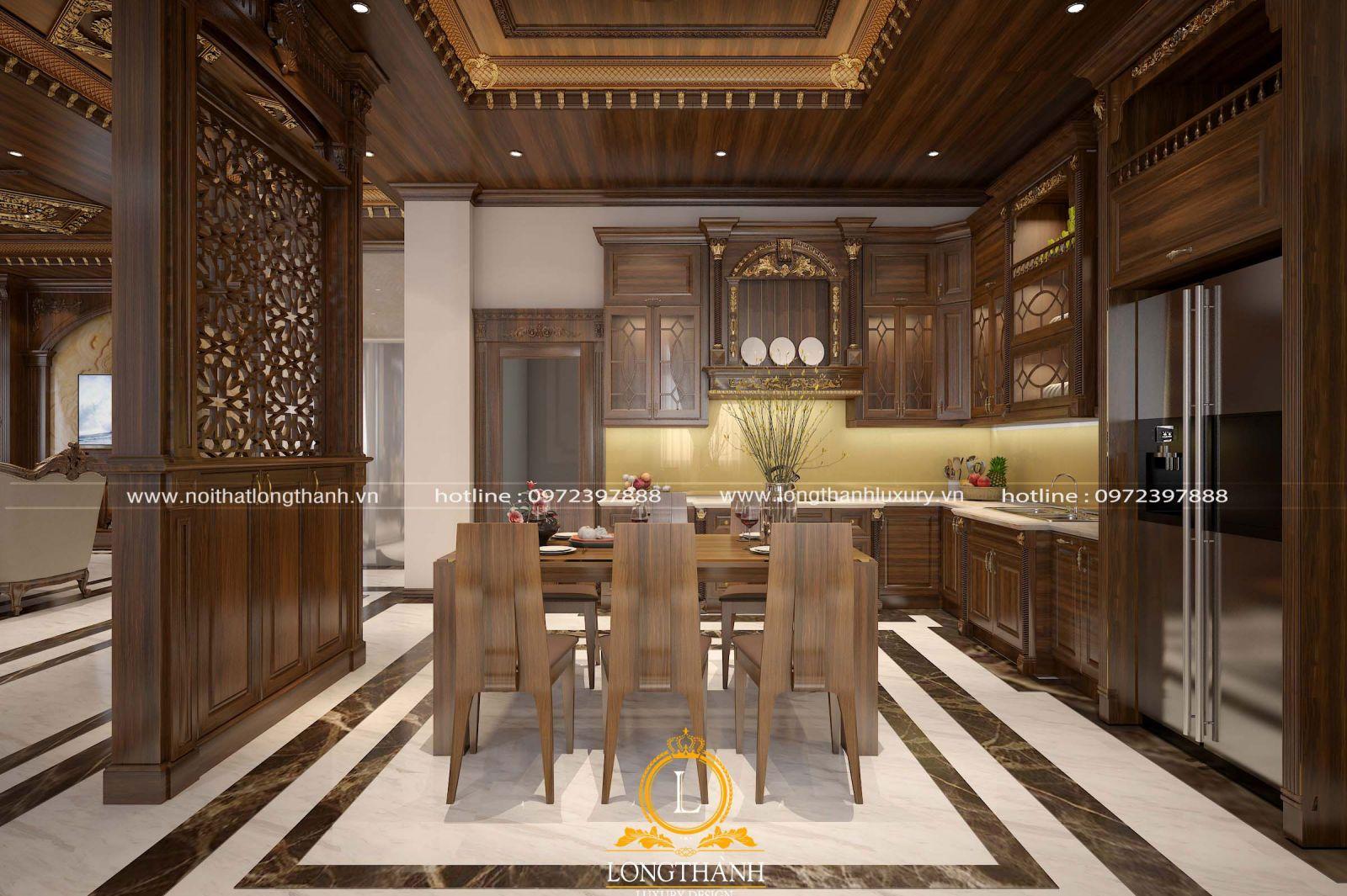 Thiết kế nội thất phòng bếp có gam màu nâu phù hợp với người mệnh Mộc