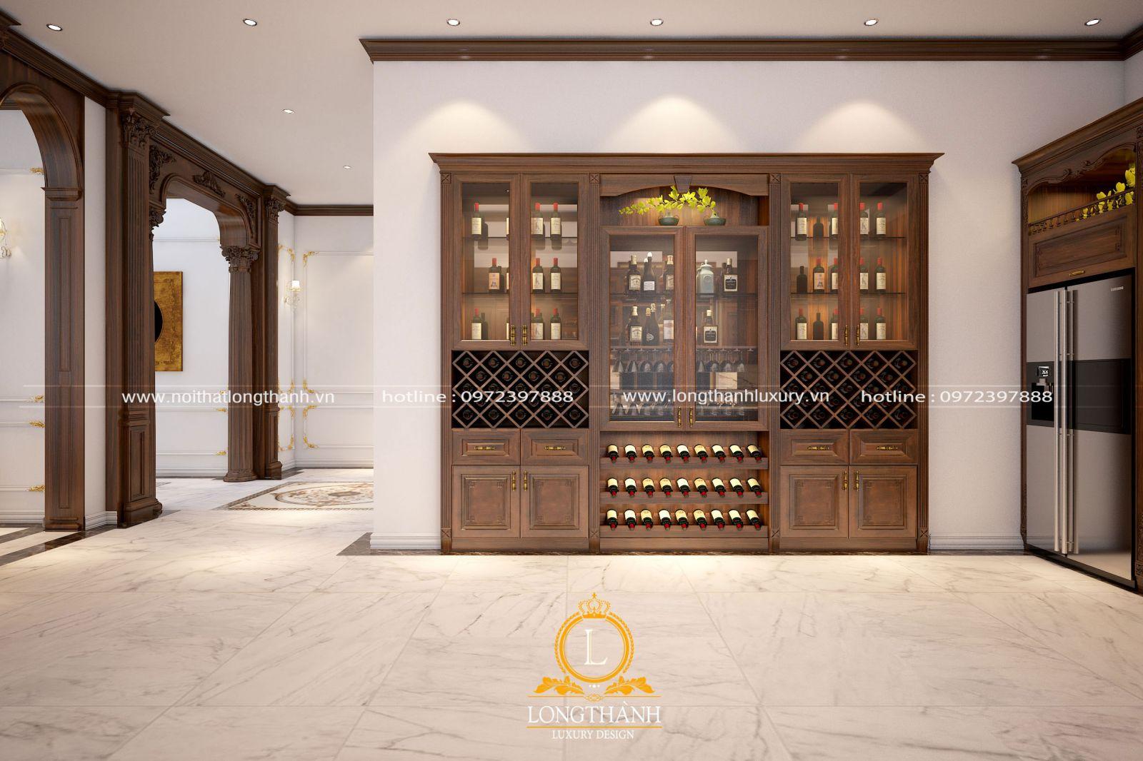 Tủ rượu gỗ được thiết kế bố trí linh hoạt theo không gian thưc tế