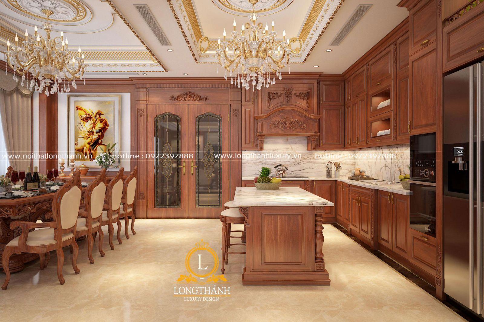 Diện tích rộng nên bộ tủ bếp được bố trí cùng bộ bàn ăn cùng phong cách tân cổ điển