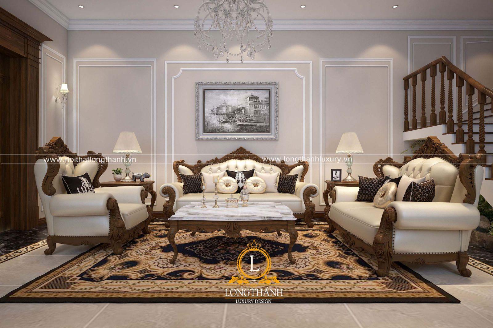 Không gian phòng khách đẹp với bộ sofa tân cổ điển kết hợp thảm trải sàn