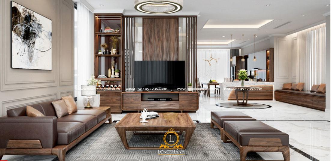 Nội thất sofa bọc chất liệu da tự nhiên với gam màu nâu hài hòa cùng nội thất gỗ