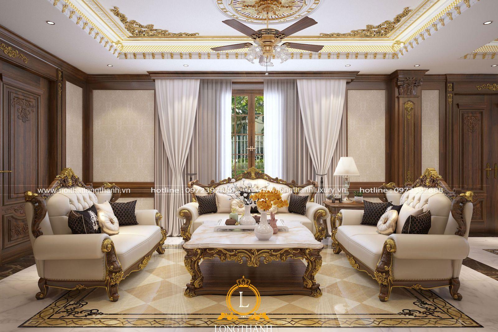 Nội thất phòng khách biệt thự được thiết kế dát vàng lộng lẫy