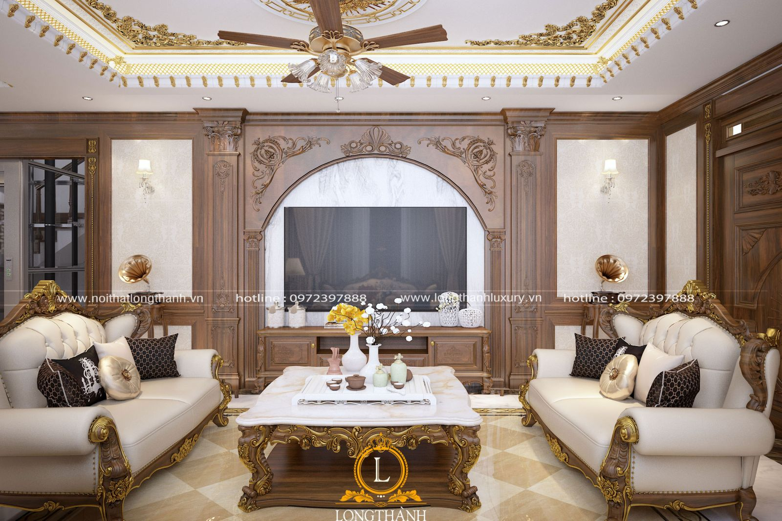 Không gian phòng khách được thiết kế và bố trí hài hòa hợp lý