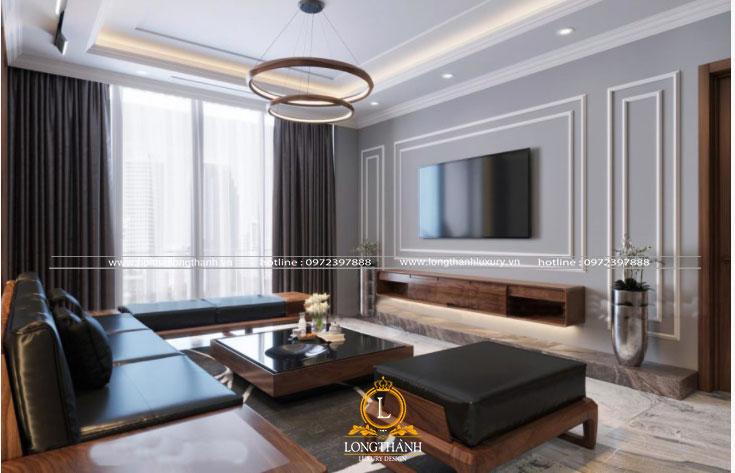 Bộ sofa phòng khách hiện đại với gam màu  trầm làm chủ đạo