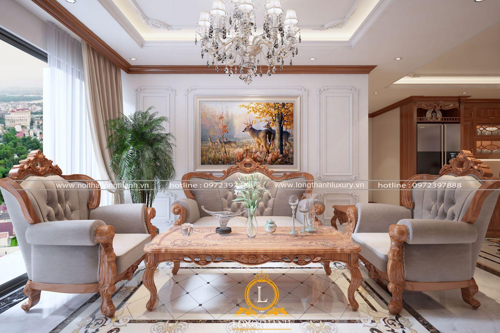 Mẫu sofa bọc vải cho phòng khách chung cư cao cấp