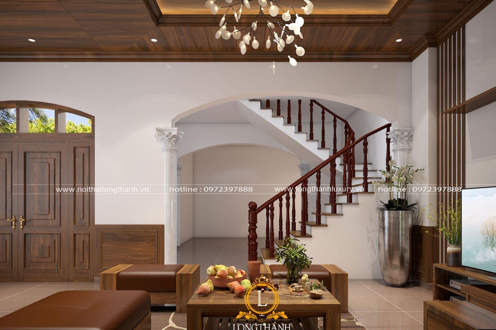 Không gian phòng khách đẹp gắn liền với sự kết hợp cùng hệ cầu thang