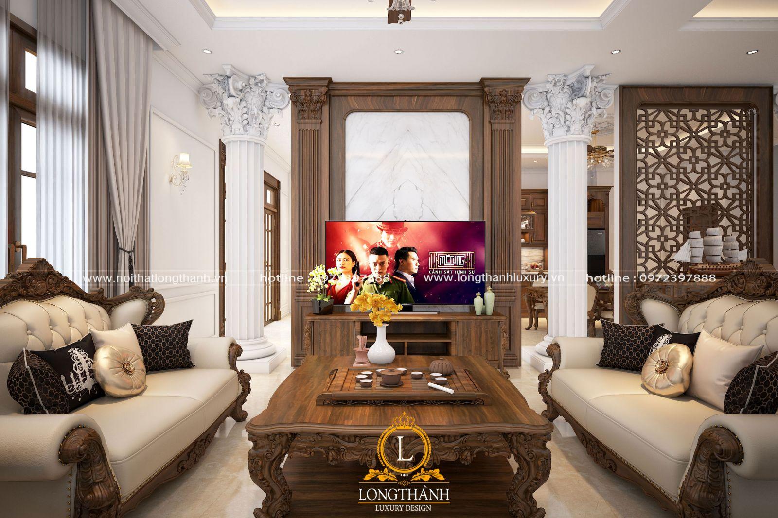 Phòng khách được thiết kế phân chia bảo đảm tính đối xứng