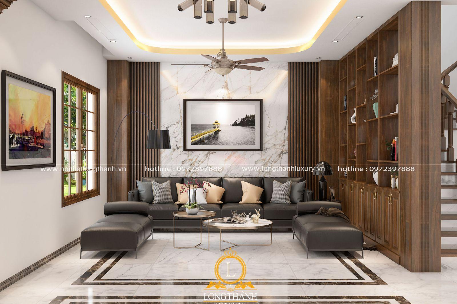 Không gian phòng khách hiện đại được thiết kế và bài trí phù hợp với diện tíchthựctế