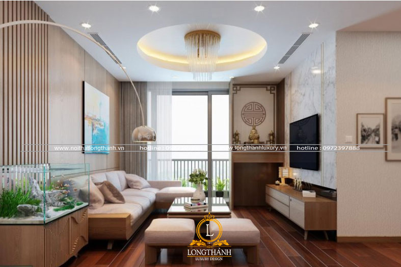 nội thất gỗ tự nhiên nổi bật trong căn phòng khách hiện đại