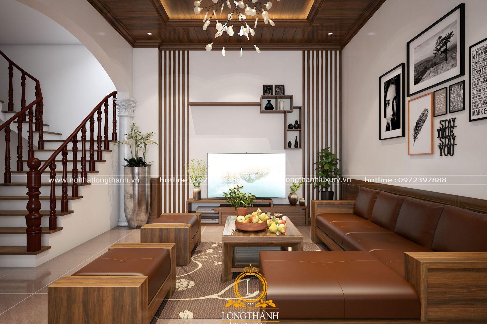 Thiết kế phòng khách biệt thự tân cổ điển sử dụng hoàn toàn là gỗ tự nhiên