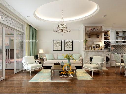 Kiểu dáng đơn giản nhẹ nhàng nên bộ sofa nỉ có thể được ứng dụng trong nhiều không gian phòng khách