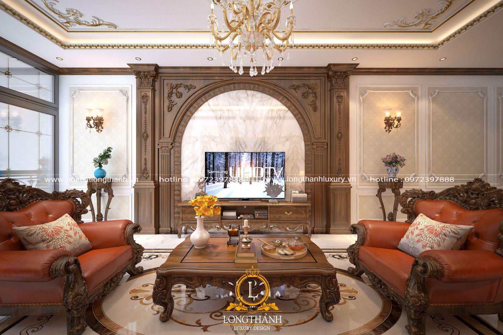 Phòng khách cho nhà ống được thiết kế  và bài trí sang trọng và bề thế