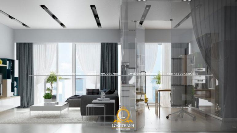 Phòng khách hiện đại với các mảng màu  đậm nhạt tinh tế