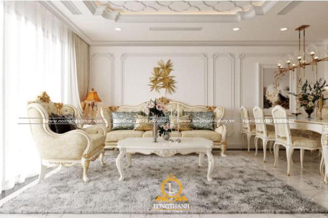 Không gian phòng khách sơn trắng thông thoáng
