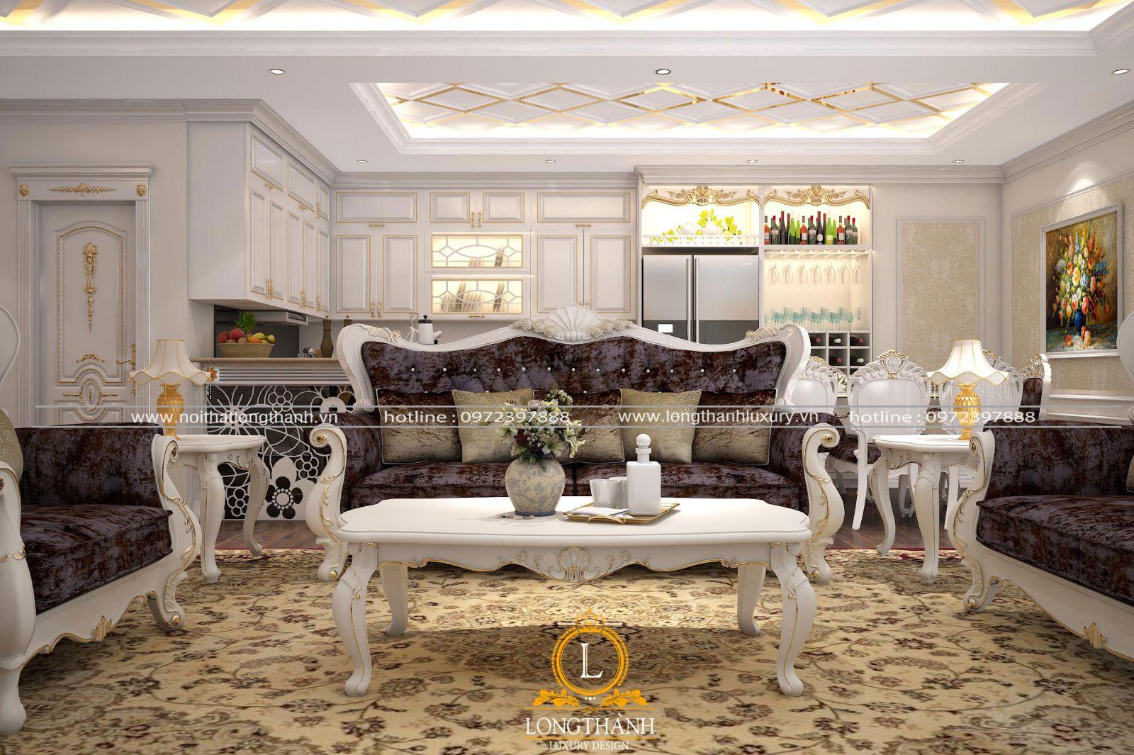 Không gian phòng khách tân cổ điển đẹp bao quát căn nhà