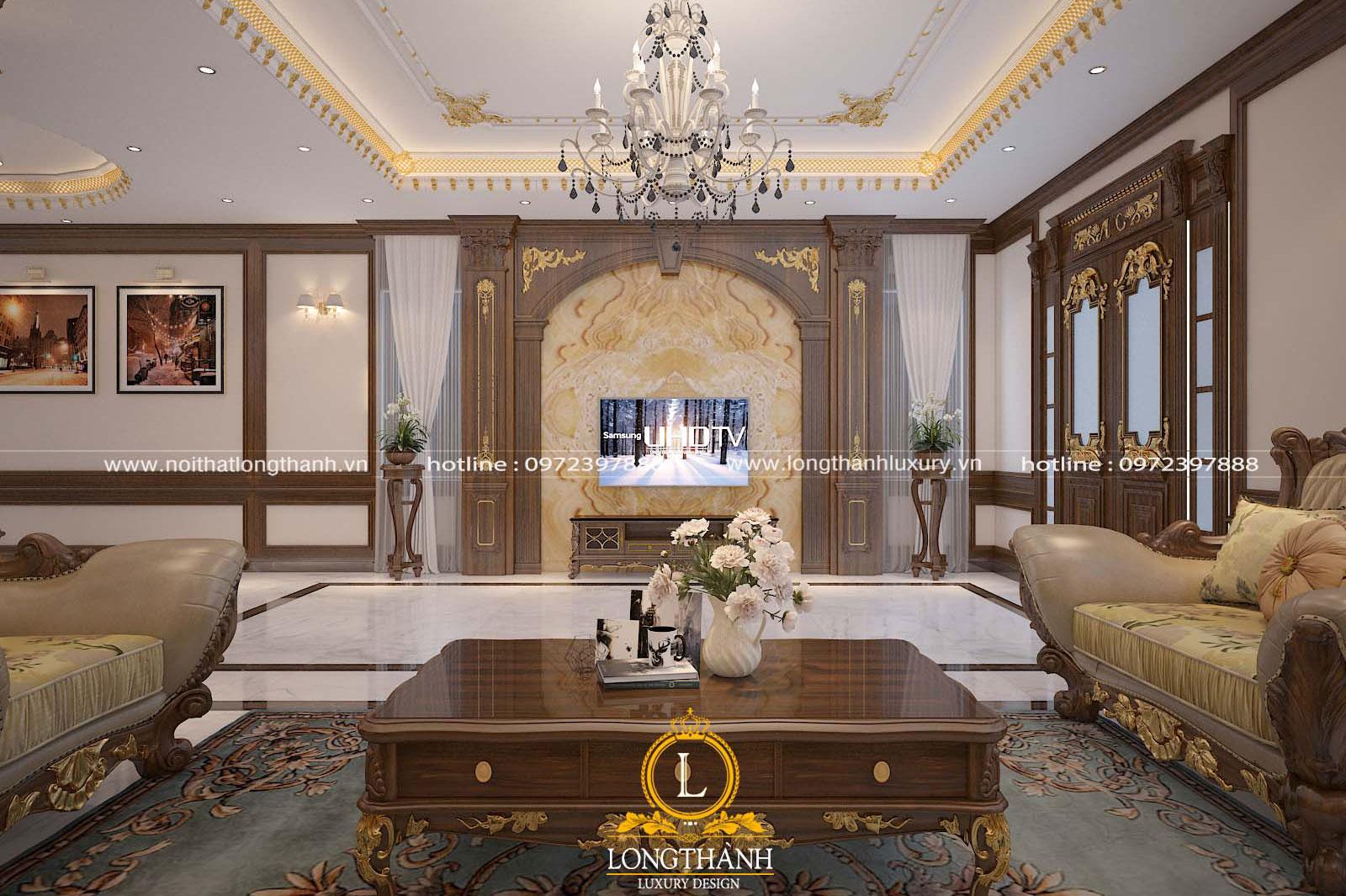 Không gian phòng khách tân cổ điển đẹp