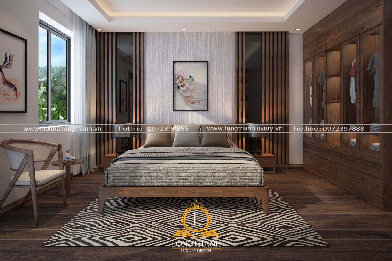Không gian phòng ngủ cao cấp sử dụng chất liệu Verneer gỗ Sồi