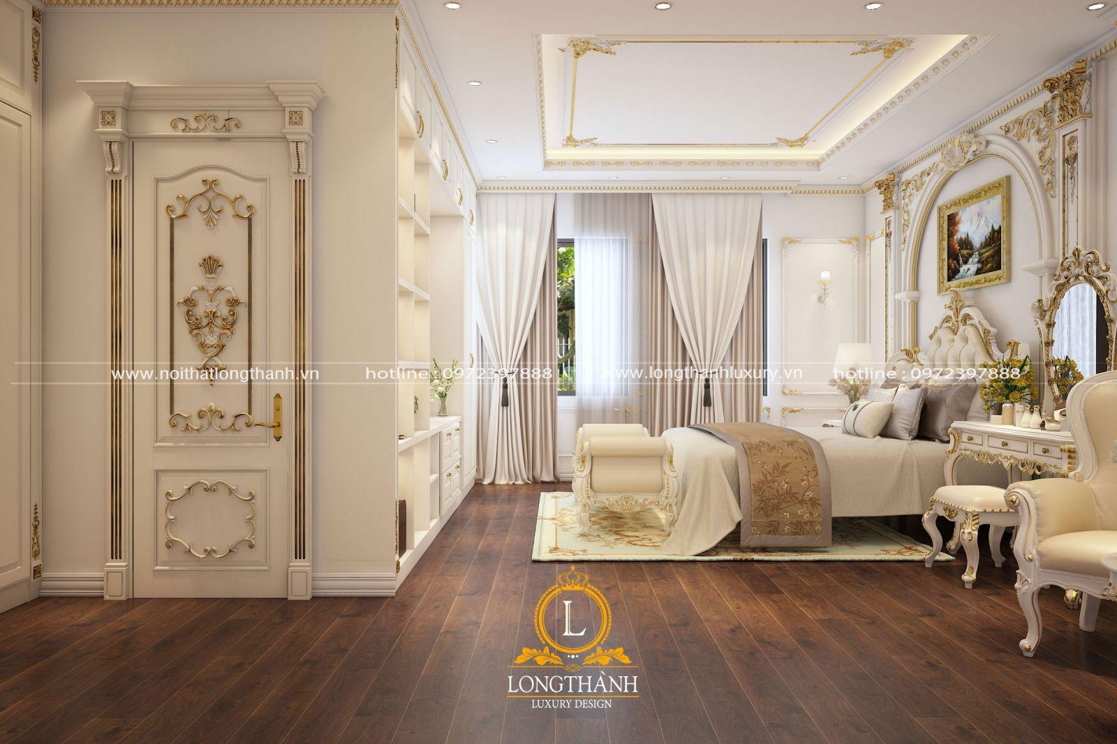 Không gian phòng ngủ cao cấp lộng lẫy được thiết kế tiện nghi