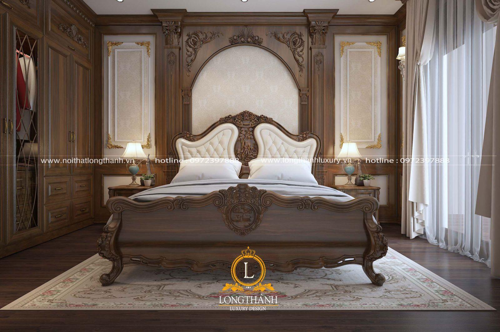 Không gian phòng ngủ cao cấp được thiết kế đẹptinh tế từ gỗ Óc Chó tự nhiên nhập khẩu