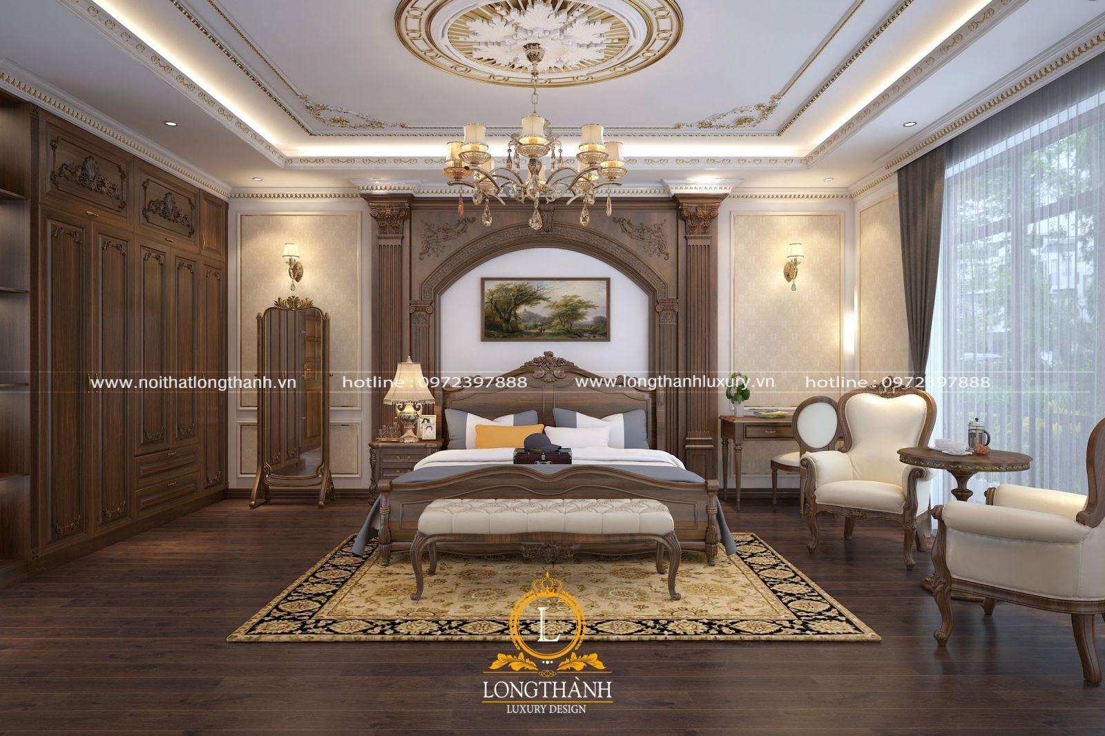 Phòng ngủ cao cấp được bố trí nội thất tiện nghi