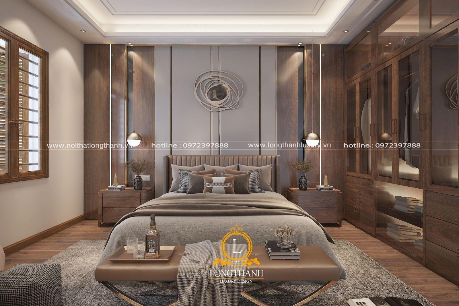 Không gian phòng ngủ được thiết kế lịch lãm dành  cho những anh chàng độc thân