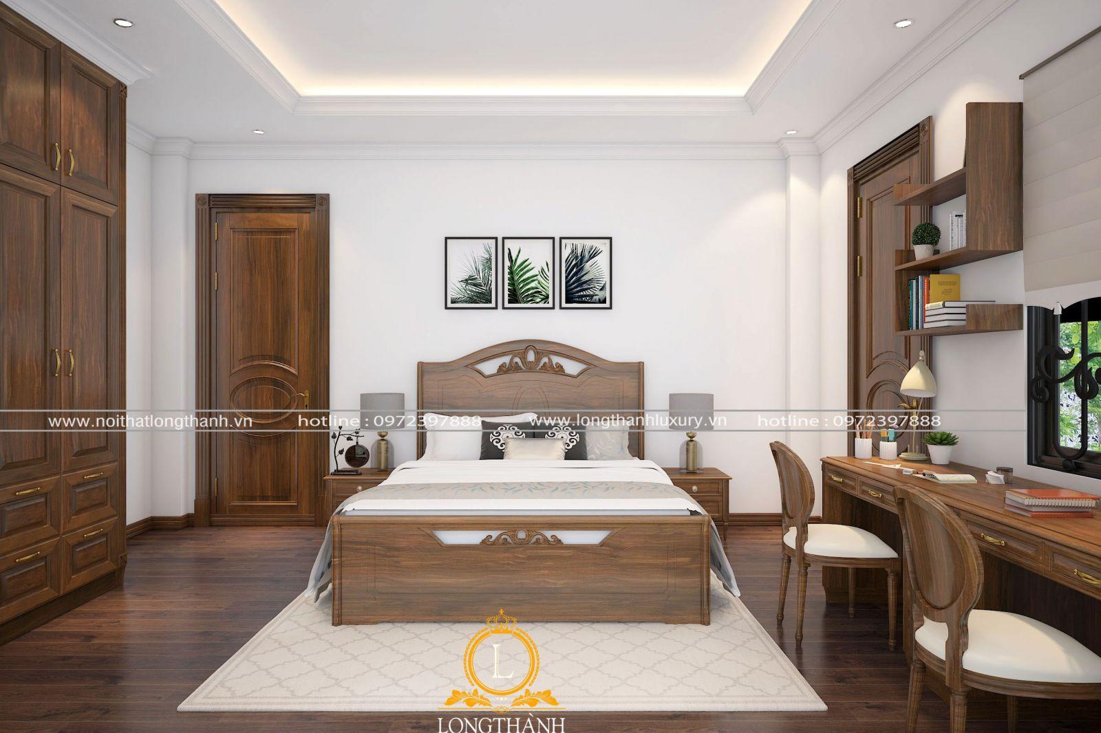 Không gian phòng ngủ hiện đại bố trí gọn gàng và tiện nghi