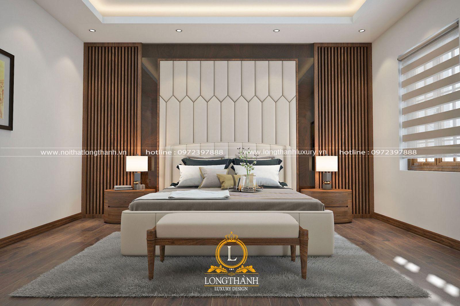 Với không gian rộng giúp việc bài trí phòng ngủ hiện đại thêm thoáng đãng