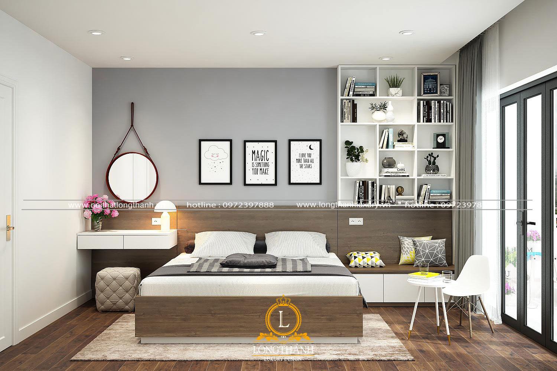 Long Thành thiết kế kệ tủ sách với nhiều ngăn kệ để lưu trữ, bài trí, giúp tận dụng tối đa diện tích căn phòng