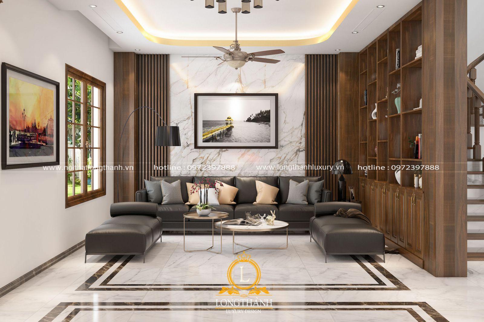 Thiết kế nội thất phòng khách nhà phố theo phong cách hiện đại đơn giản