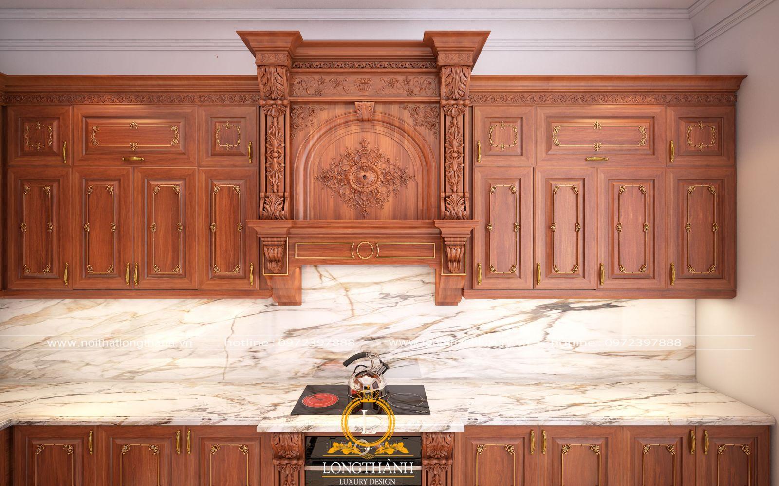 Tủ bếp gỗ Gõ mang đến vẻ đẹp sang trọng cho cả không gian
