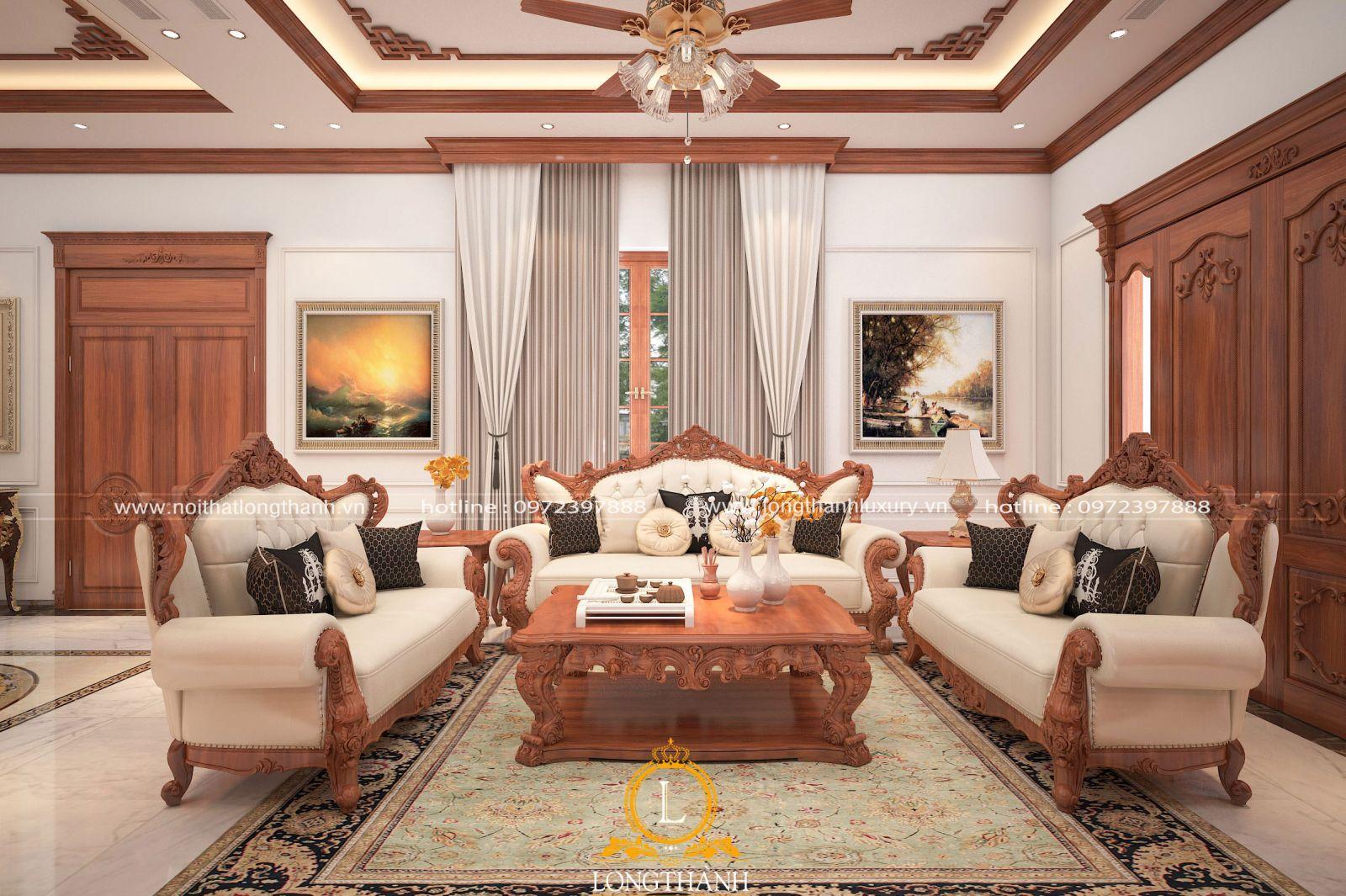 Mẫu sofa  đẹp được sử dụng hoàn toàn chất lượng gỗ tự nhiên đẳng cấp sử dụng cho phòng khách biệt thự