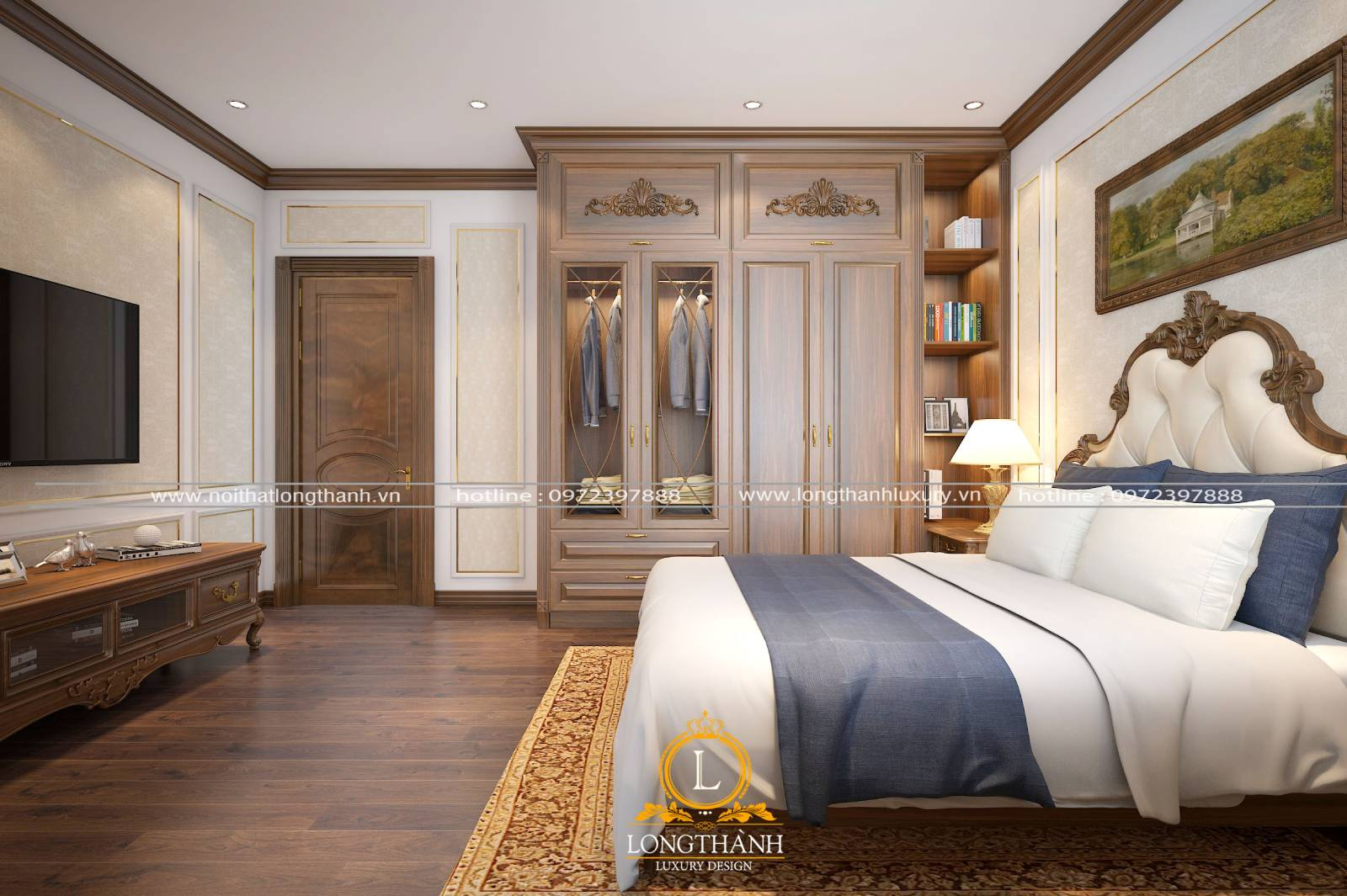 Mẫu giường tủ tân cổ sang trọng tiện nghi cho phòng ngủ