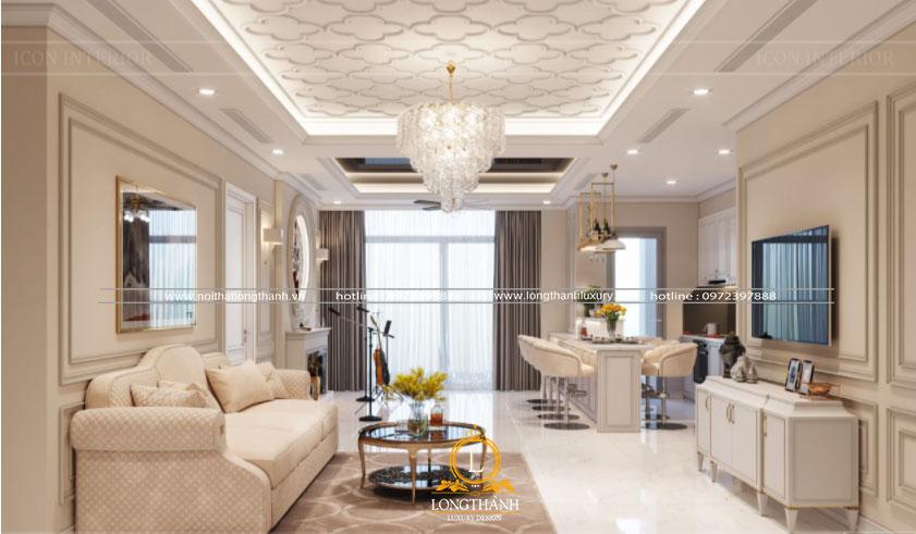 Mẫu phòng khách tân cổ điển sơn trắng đẹp
