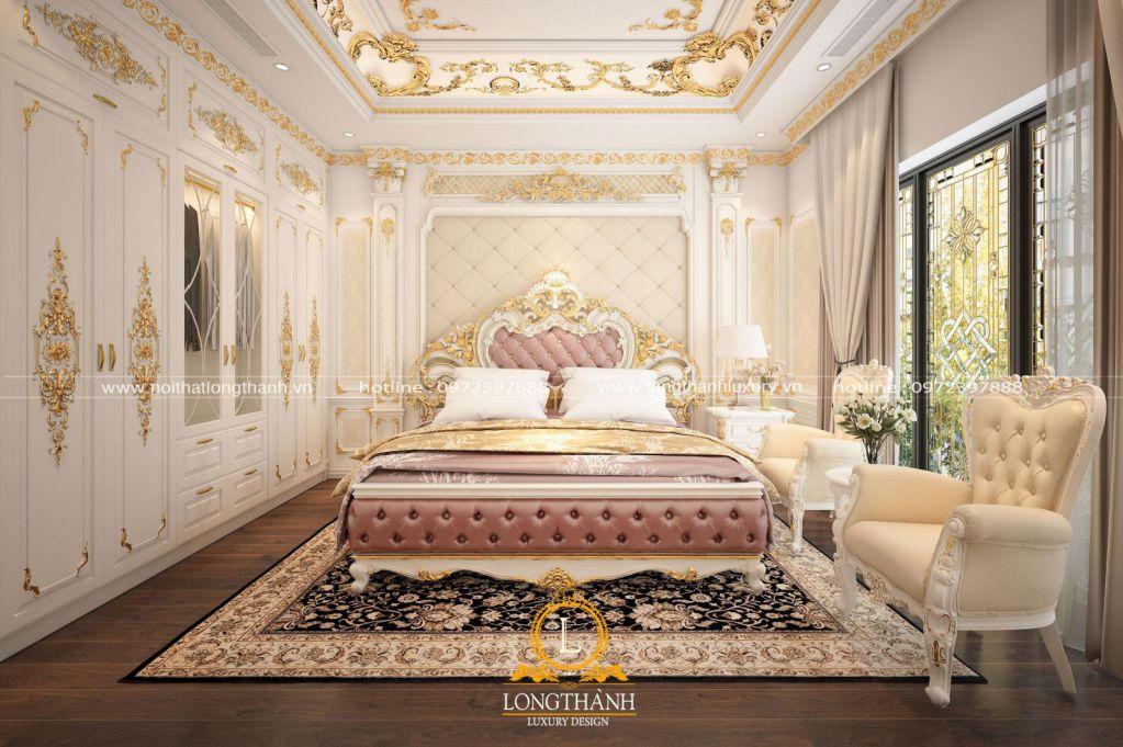 Mẫu phòng ngủ cao cấp chung cư phong cách hoàng gia