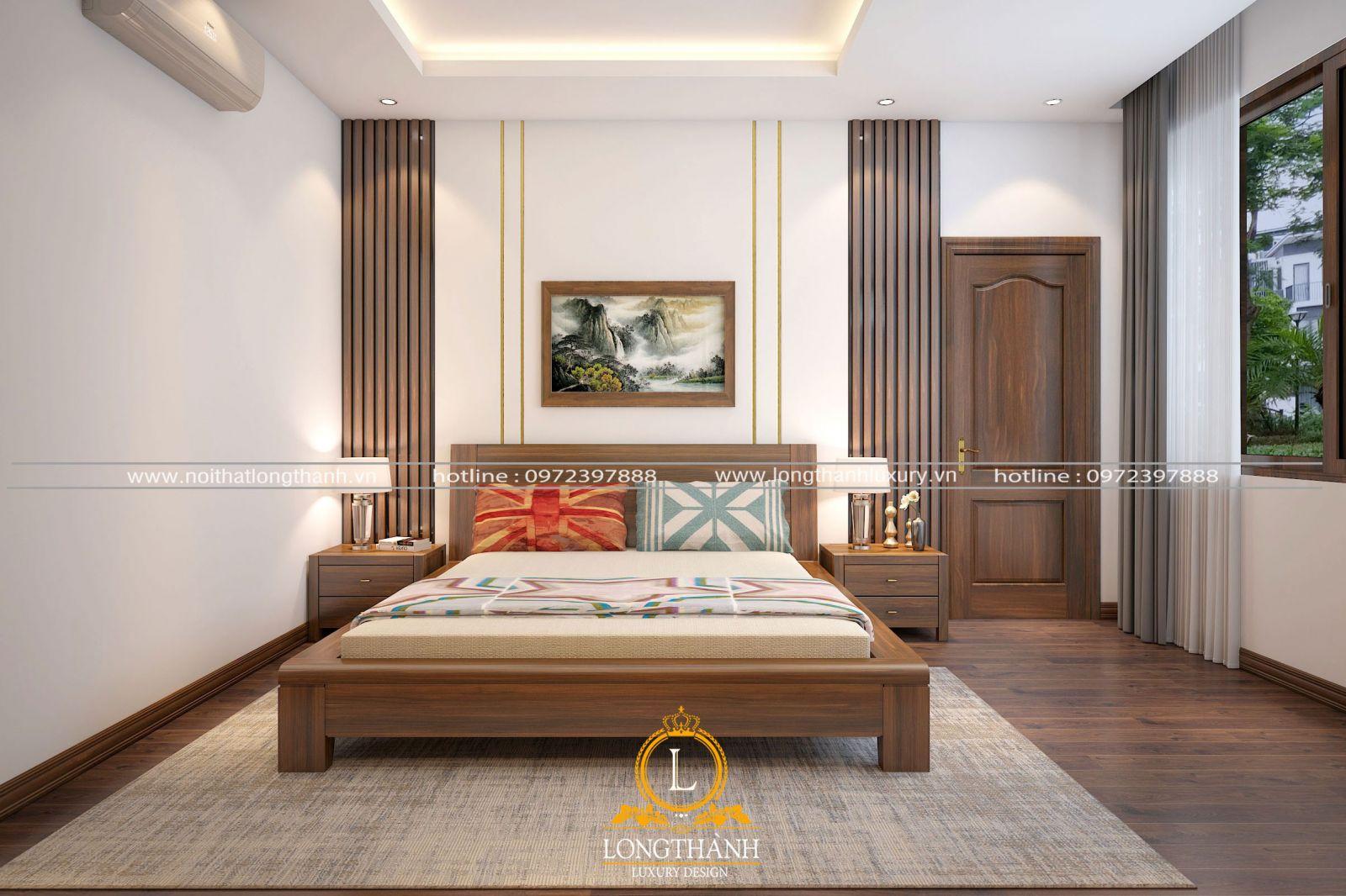 Điểm nhấn củacăn phòng ngủ chính là hệ vách đầu giường