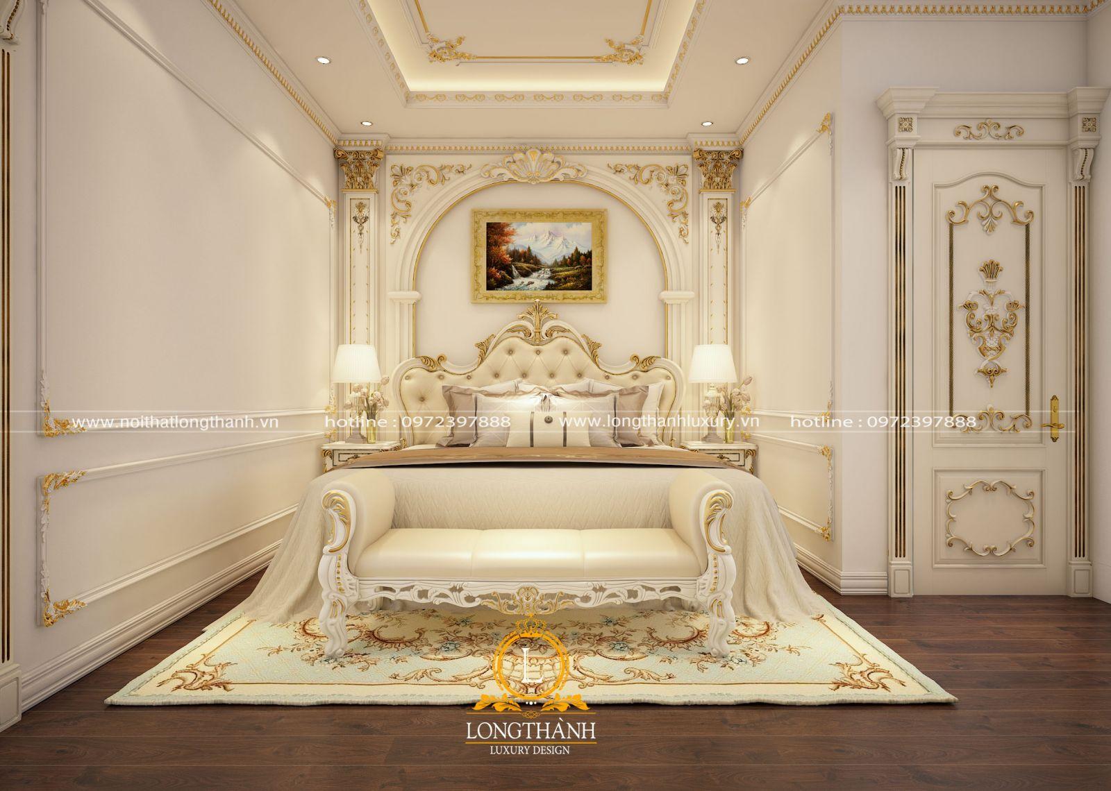 Mẫu phòng ngủ sơn trắng dát vàng sang trọng, tinh tế và đẳng cấp