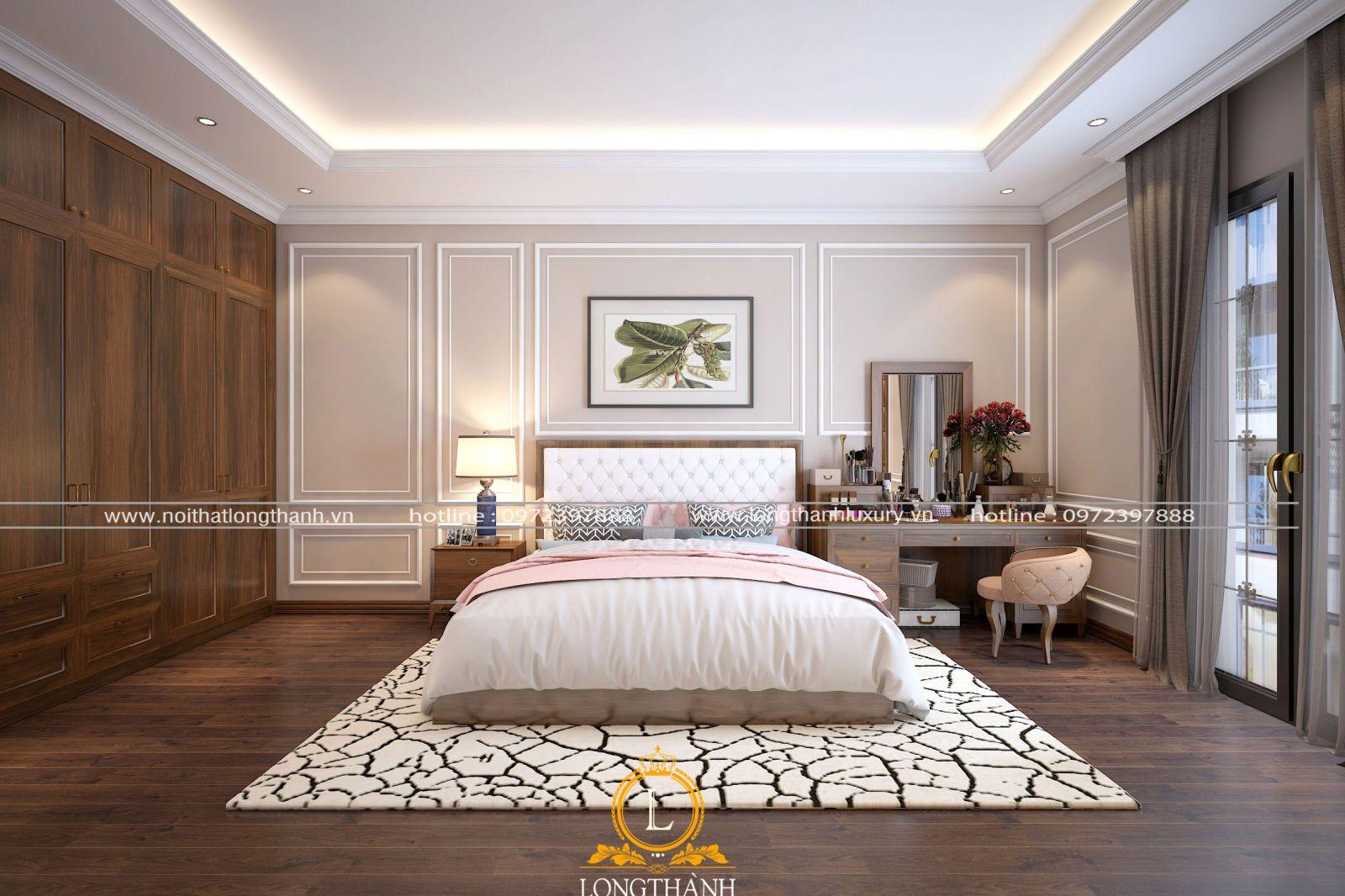 Mẫu phòng ngủ hiện đại rộng với đồ nội thất tiện nghi