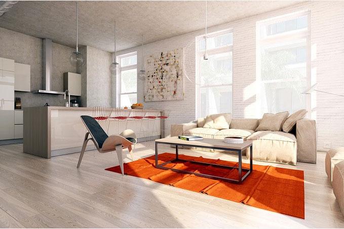 Màu sắc nội thất lựa chọn đơn giản có điểm nhấn